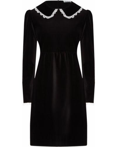 Кружевное с рукавами черное платье ли-лу