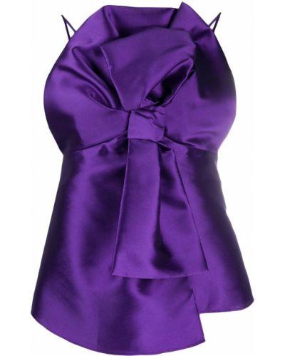 Фиолетовый шелковый топ на бретелях Alberta Ferretti