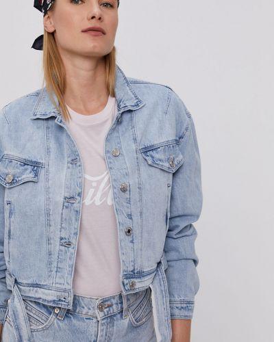 Niebieska kurtka jeansowa z kapturem bawełniana Tally Weijl