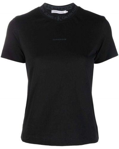 Джинсовая прямая футболка с короткими рукавами с принтом Calvin Klein Jeans