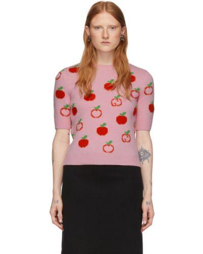 Z rękawami różowy sweter z kołnierzem z mankietami Gucci