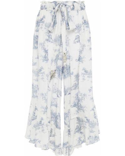 Шелковые белые укороченные брюки свободного кроя Camilla