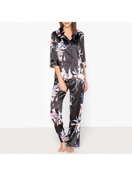 Пижама с брюками на пуговицах сатиновая La Redoute Collections