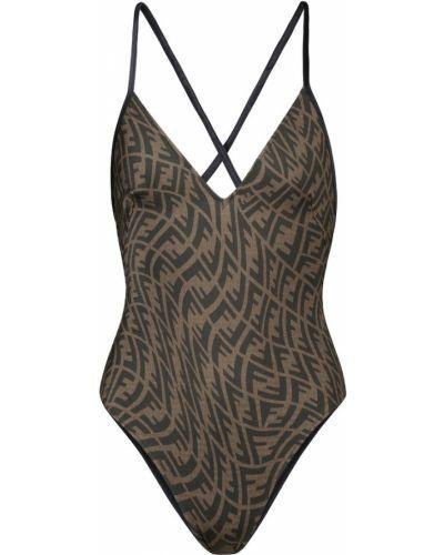 Brązowy strój kąpielowy Fendi