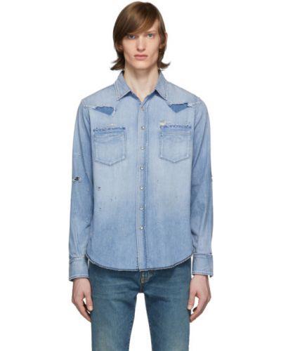 Srebro koszula jeansowa rozciągać z perłami z mankietami Saint Laurent