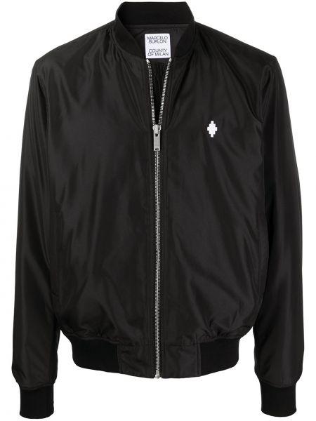 Czarna długa kurtka z długimi rękawami srebrna Marcelo Burlon County Of Milan