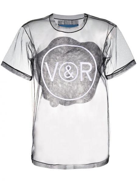 Нейлоновая прямая черная футболка с круглым вырезом Viktor & Rolf