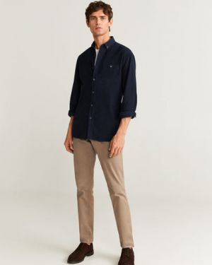 Рубашка с длинным рукавом с карманами вельветовая Mango