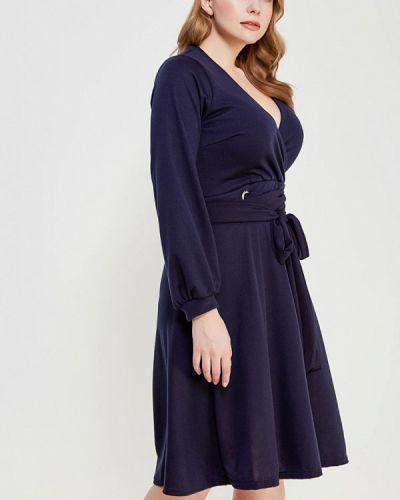 Платье осеннее синее Lost Ink Plus