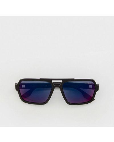 Черные итальянские солнцезащитные очки Prada Linea Rossa
