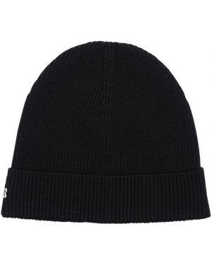 Czarny czapka beanie wełniany z haftem Lacoste