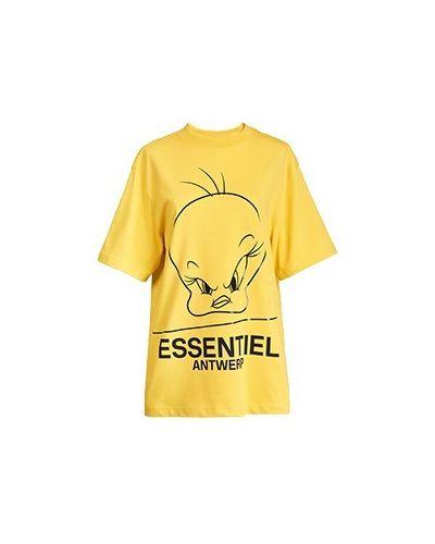 Хлопковая желтая футболка Essentiel