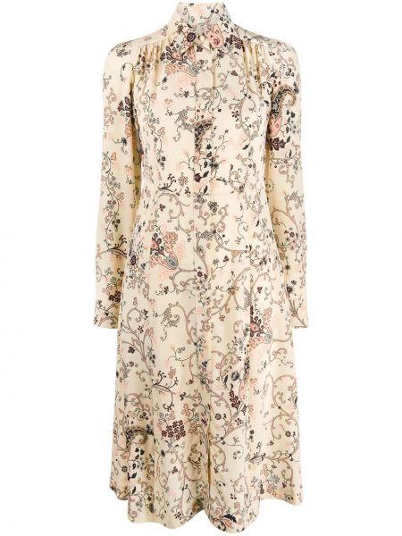 Шелковое классическое платье миди на пуговицах с воротником Etro