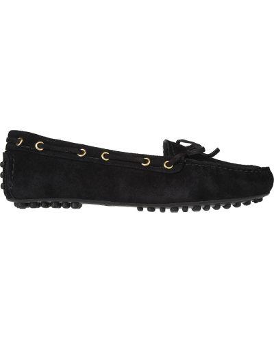 Мокасины замшевые черные Car Shoe