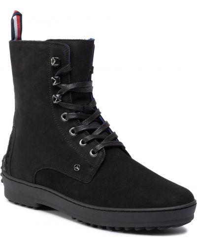 Buty na wysokości skórzany czarny Tommy Hilfiger