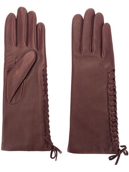Красные кожаные перчатки из альпаки Agnelle