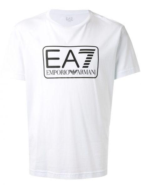 Хлопковая белая футболка с круглым вырезом с короткими рукавами Ea7 Emporio Armani