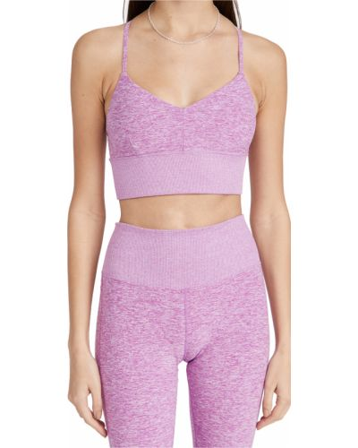 Prążkowany fioletowy biustonosz na co dzień Alo Yoga