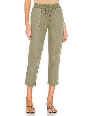 Зеленые брюки с поясом с отворотом David Lerner