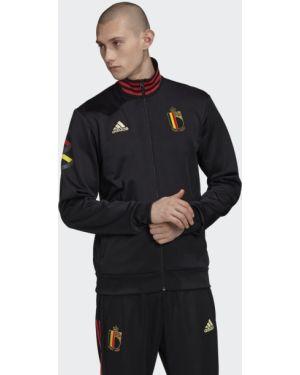 Футбольный спортивный черный костюм классический с нашивками Adidas