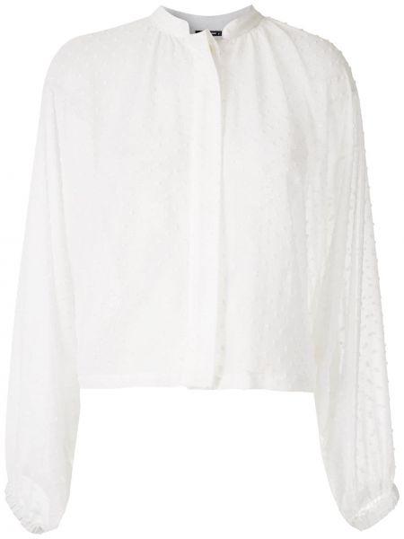 С рукавами белая рубашка с воротником-стойка À La Garçonne