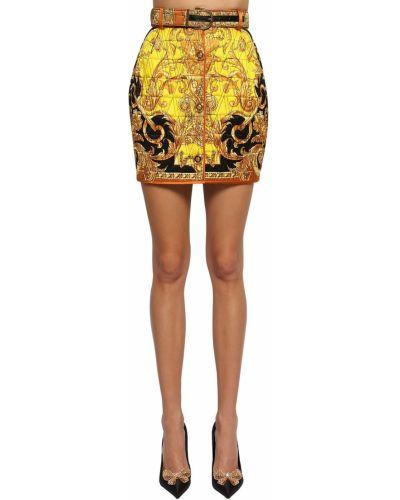 Юбка мини кожаная шелковая Versace