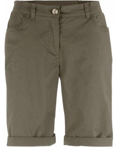 Зеленые брюки из поплина Bonprix