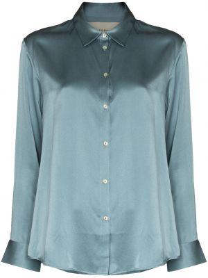 Niebieska koszula z długimi rękawami z jedwabiu Asceno