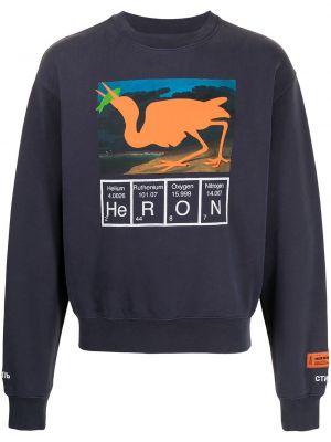 Fioletowa bluza długa z haftem bawełniana Heron Preston