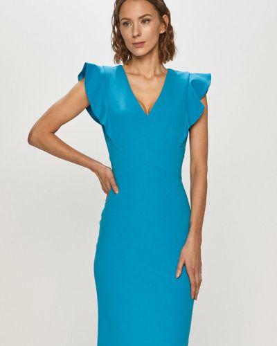 Niebieska sukienka koktajlowa z falbanami materiałowa Dkny