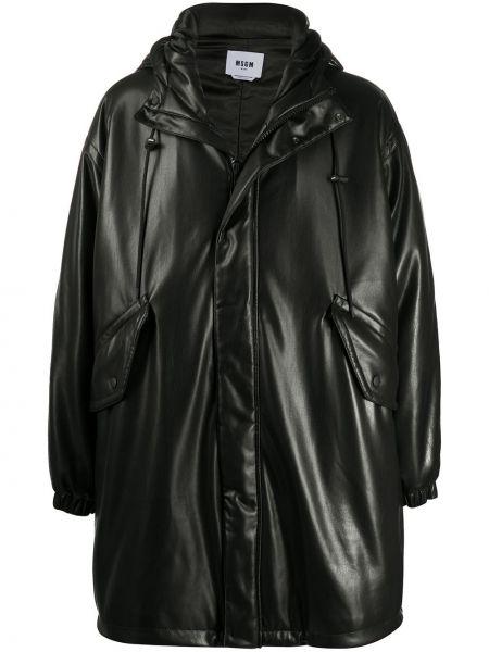 Klasyczny czarny płaszcz przeciwdeszczowy z długimi rękawami Msgm