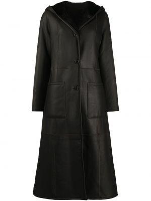 Коричневое пальто с капюшоном двустороннее на пуговицах из овчины Liska