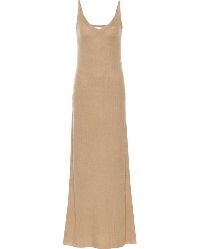 Бежевое шелковое платье макси Ryan Roche