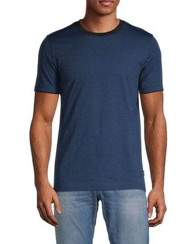 Хлопковая синяя футболка с короткими рукавами Boss Hugo Boss