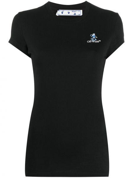 Bawełna bawełna czarny koszula z krótkim rękawem krótkie rękawy Off-white