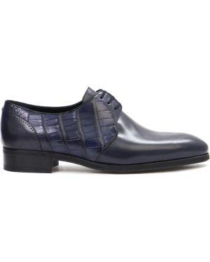Туфли на шнуровке из кожи крокодила классические Artioli