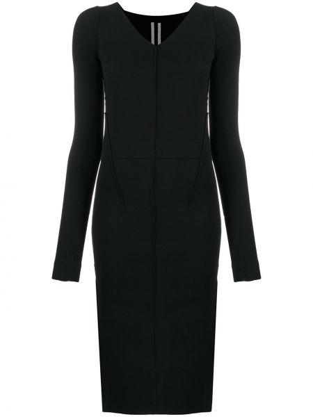 Prosto czarny długo sukienka z wiskozy z dekoltem w szpic Rick Owens