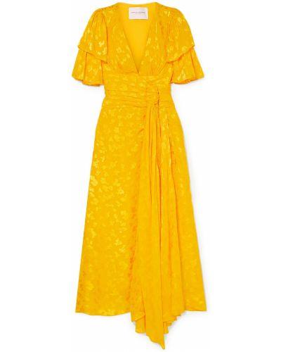 Шифоновое желтое платье миди на крючках Carolina Herrera