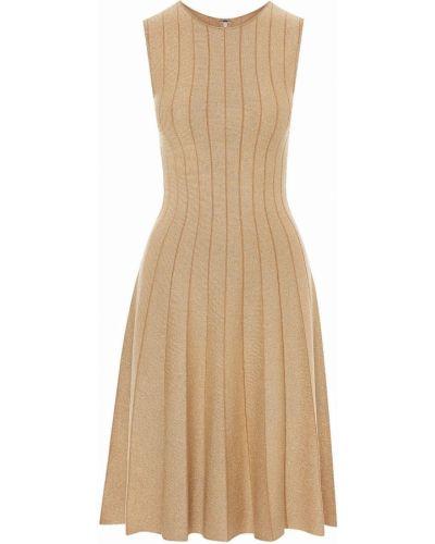 Шерстяное платье миди - коричневое Oscar De La Renta