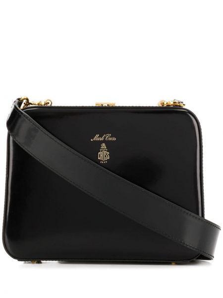 Кожаная черная сумка на плечо на молнии с карманами Mark Cross
