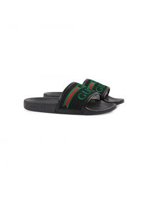 Открытые черные шлепанцы без застежки с открытым носком Gucci Kids