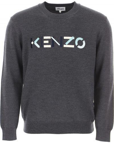 Szary bawełna bawełna sweter z długimi rękawami Kenzo