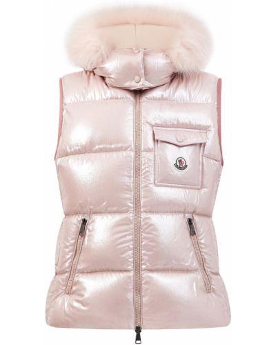 Розовая жилетка с мехом с капюшоном Moncler