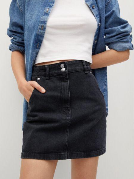 Spódnica jeansowa - czarna Mango