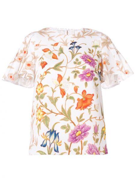 Блузка с цветочным принтом белая Peter Pilotto