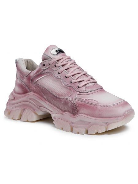 Buty sportowe skorzane - różowe Bronx