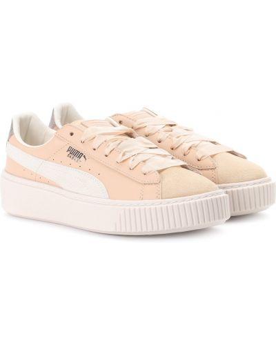 Кожаные кроссовки на платформе розовый Puma