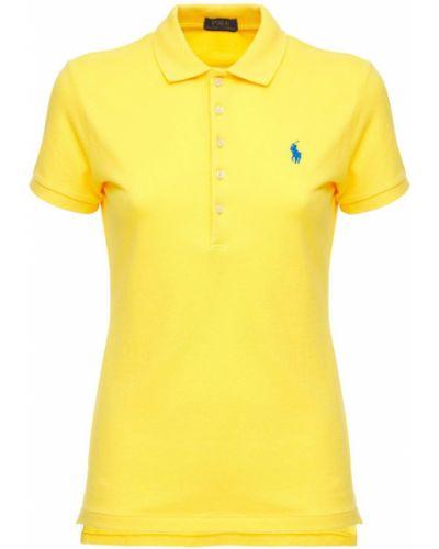 Желтое хлопковое поло с вышивкой Polo Ralph Lauren