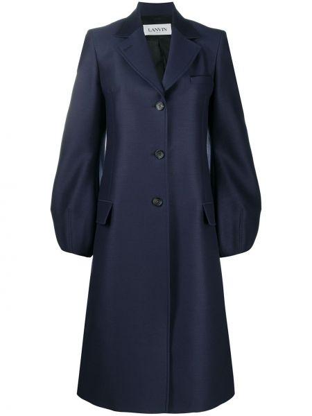 Синее шерстяное пальто с воротником Lanvin