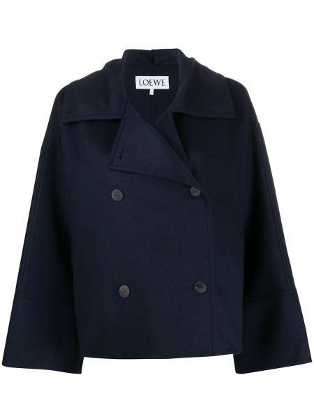 Синий шерстяной длинное пальто двубортный Loewe